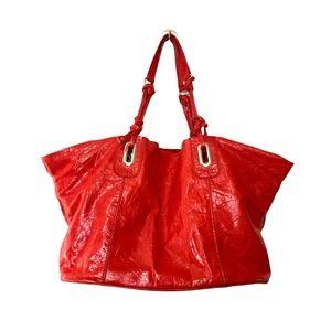 Francesco Biasia Italian Crinkle Leather Tote Red